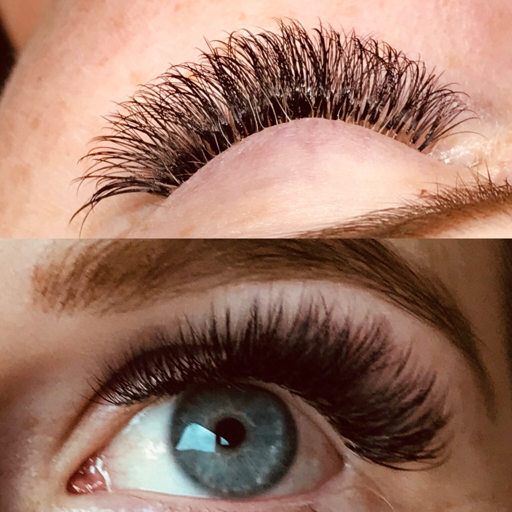 Russian Volume Lash Extension two different views.